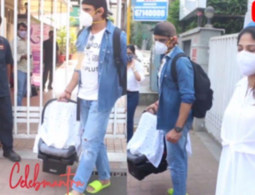 Aditi & Mohit Malik leaving Hospital today as Aditi Malik got discharged after their new Born Baby.