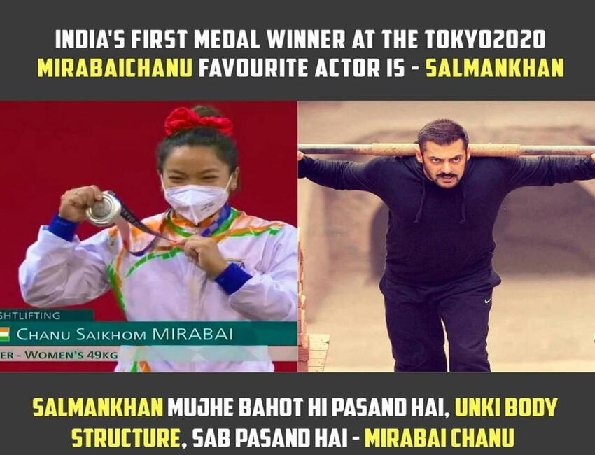 Salman Khan is Olympic silver medalist, Mirabai Chanu's favorite actor !